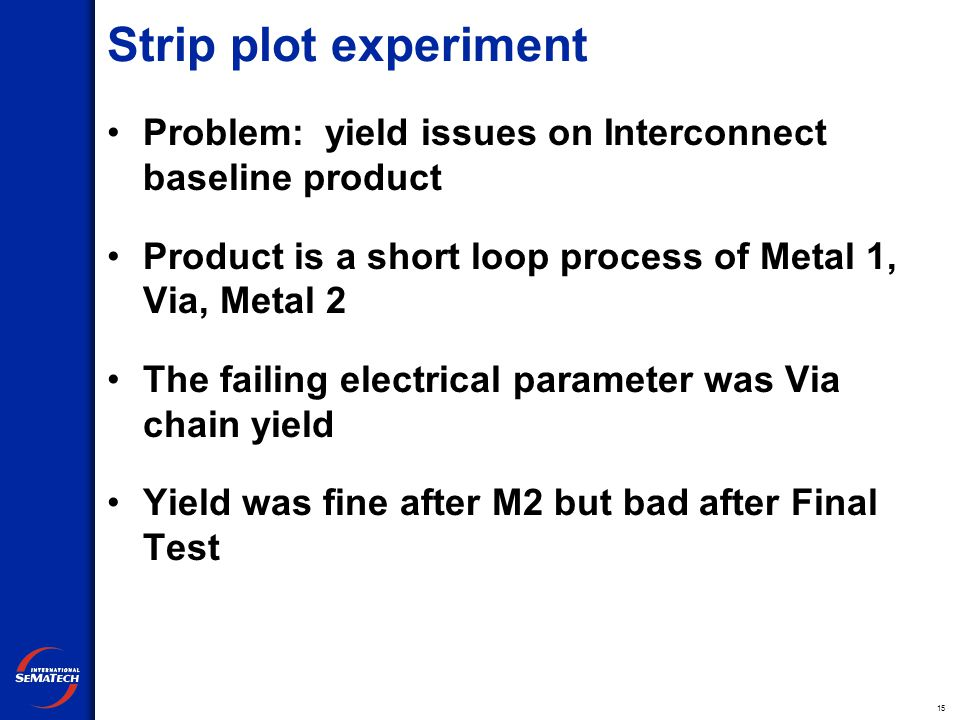 15 Strip plot experiment Problem: yield issues on Interconnect baseline product Product is a short loop process of Metal 1, Via, Metal 2 The failing electrical parameter was Via chain yield Yield was fine after M2 but bad after Final Test