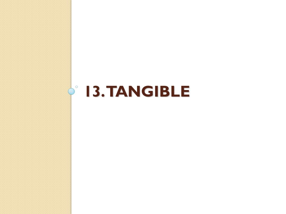 13. TANGIBLE