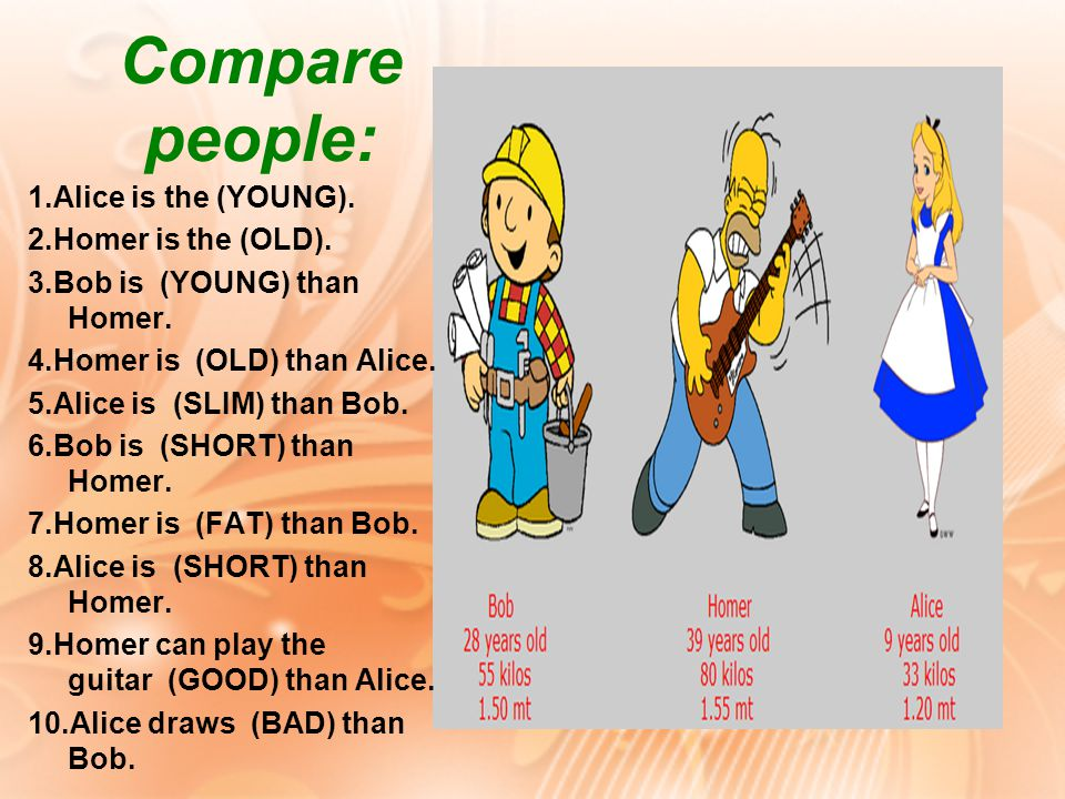 1.Alice is the (YOUNG). 2.Homer is the (OLD). 3.Bob is (YOUNG) than Homer.