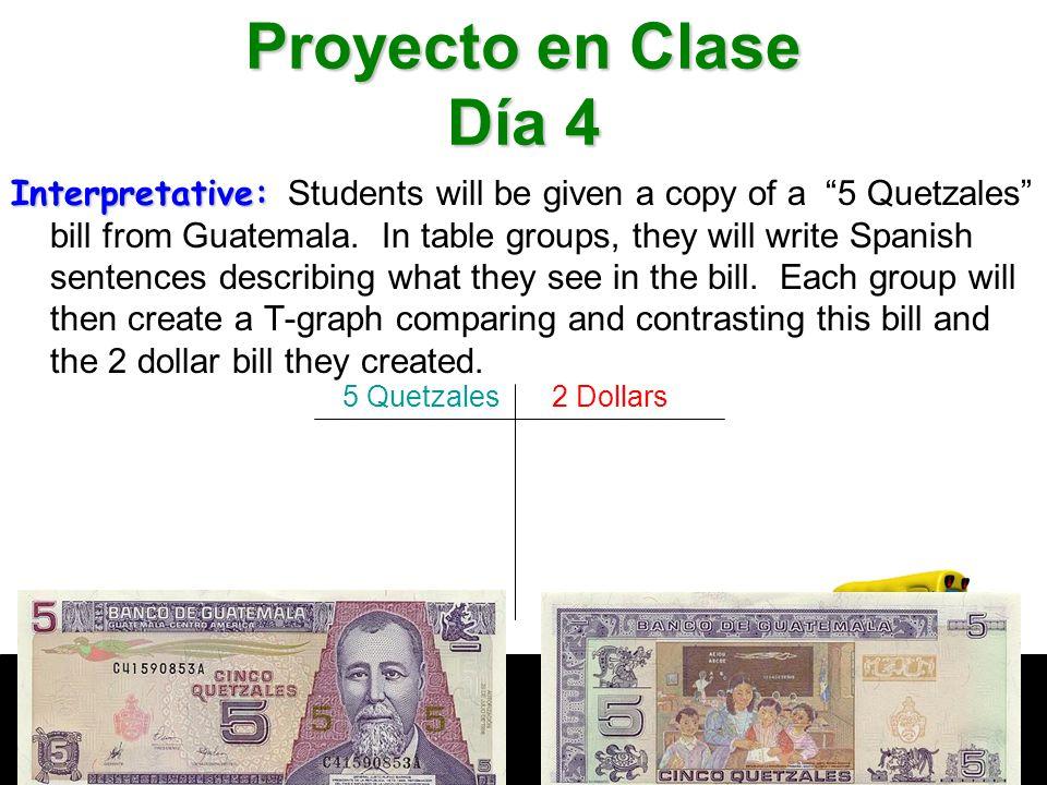 Interpretative: Interpretative: Students will be given a copy of a 5 Quetzales bill from Guatemala.