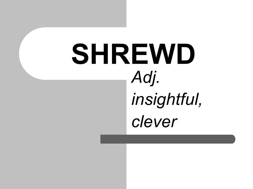 SHREWD Adj. insightful, clever