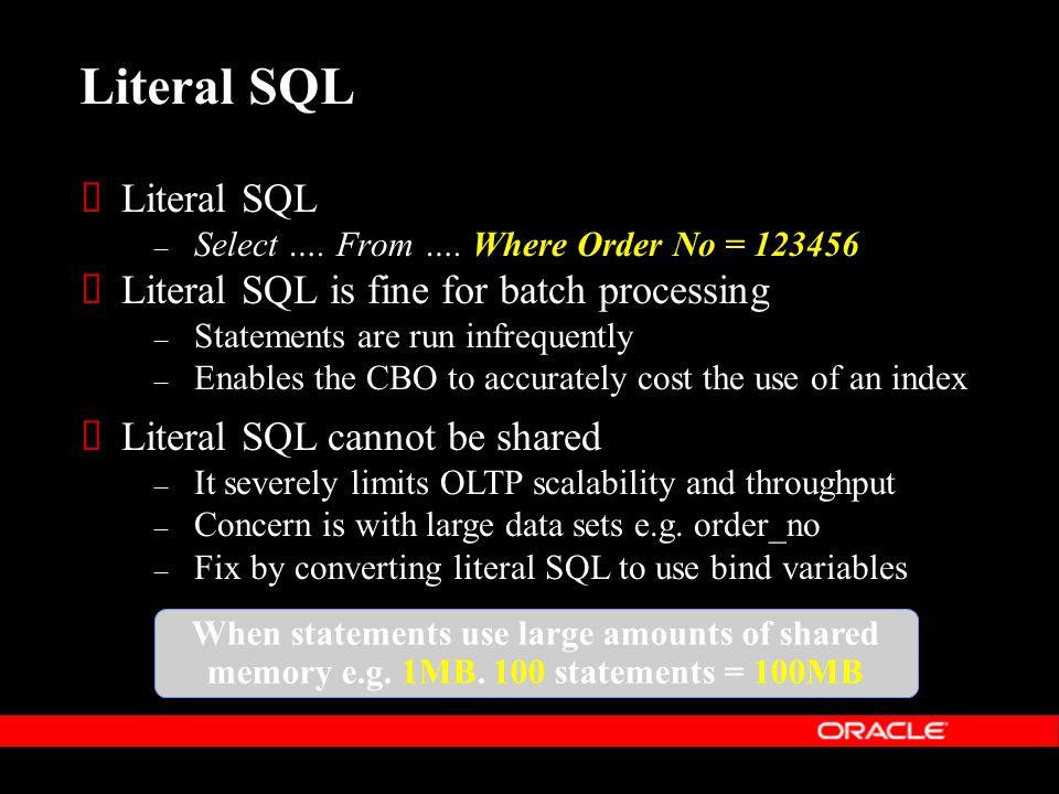 Literal SQL  Literal SQL – Select …. From ….