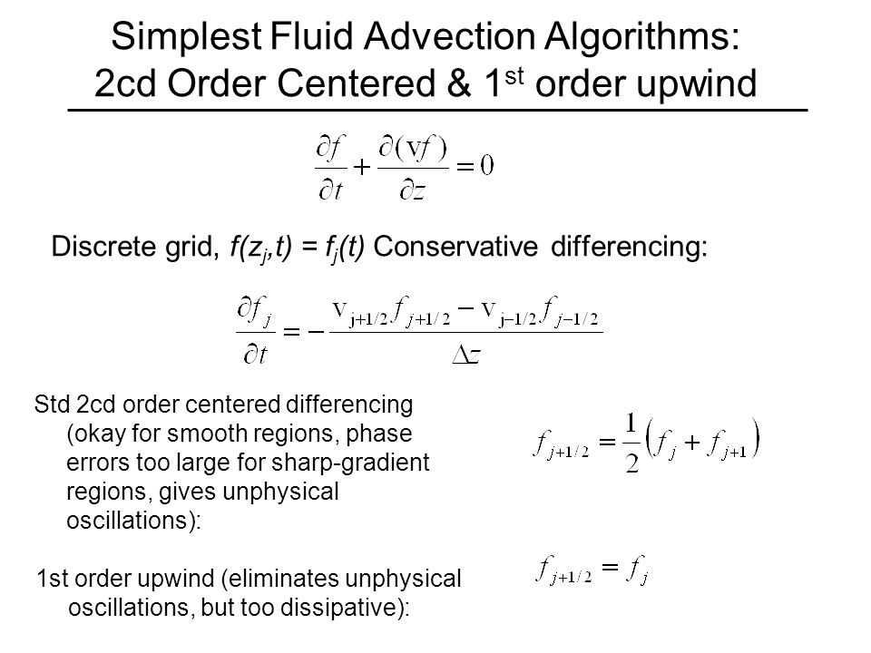 Simplest Fluid Advection Algorithms: 2cd Order Centered & 1 st order upwind Discrete grid, f(z j,t) = f j (t) Conservative differencing: Std 2cd order centered differencing (okay for smooth regions, phase errors too large for sharp-gradient regions, gives unphysical oscillations): 1st order upwind (eliminates unphysical oscillations, but too dissipative):