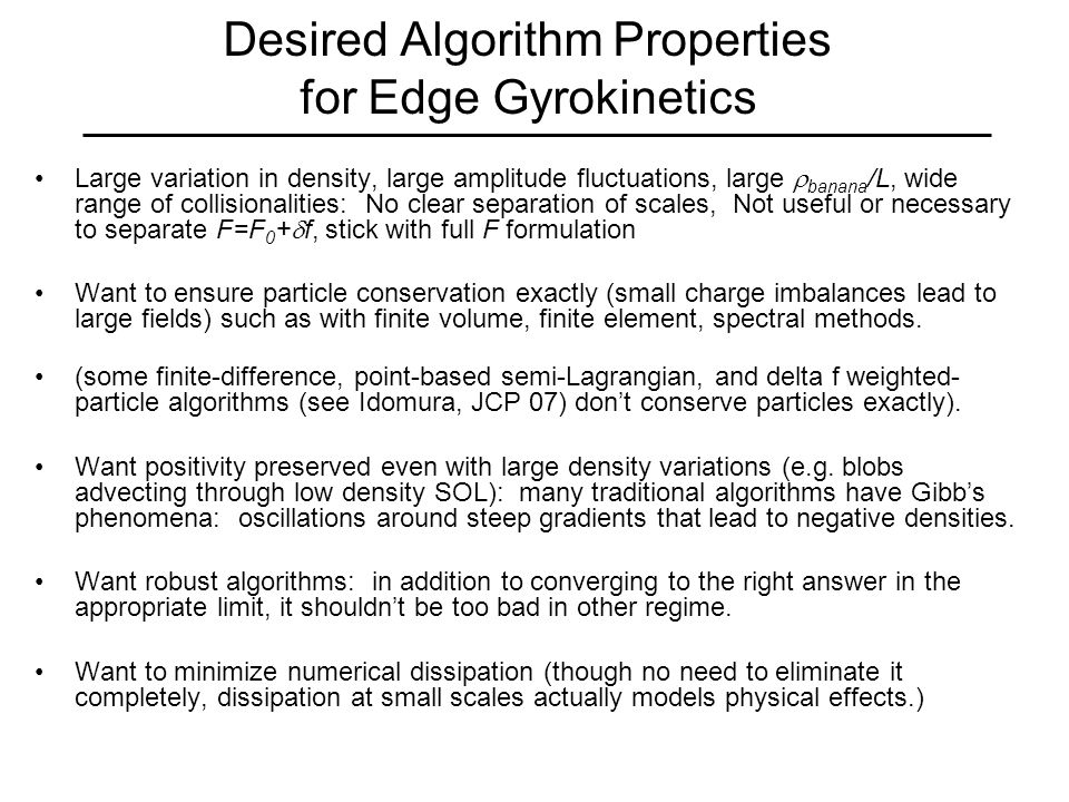 Main idea behind these algorithms: detect discontinuities / under-resolved features, revert to lower-order polynomial in non-smooth regions, allow discontinuities (allowed for hyperbolic eqs.), introduce minimum necessary numerical diffusion in non-smooth regions to preserve (or encourage) monotonicity, positivity.
