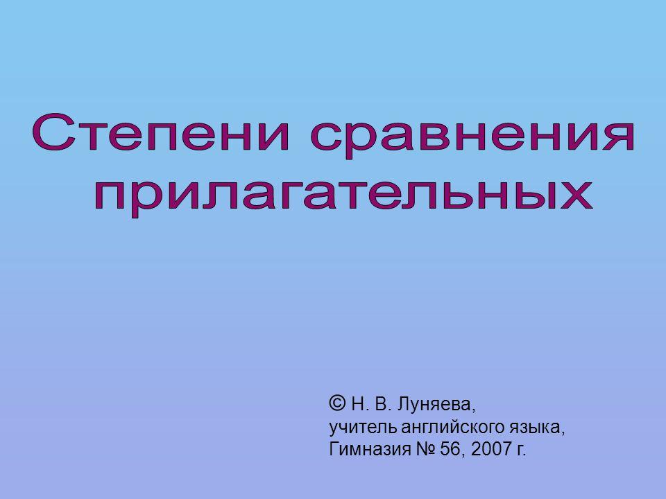 © Н. В. Луняева, учитель английского языка, Гимназия № 56, 2007 г.
