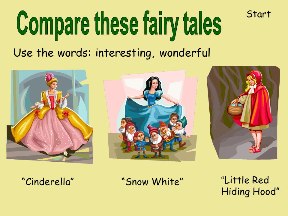 Use the words: interesting, wonderful Cinderella Snow White Little Red Hiding Hood Start