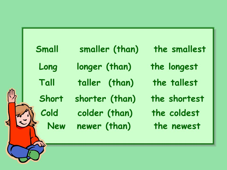 Small smaller (than) the smallest Long longer (than) the longest Tall taller (than) the tallest Short shorter (than) the shortest Cold colder (than) t
