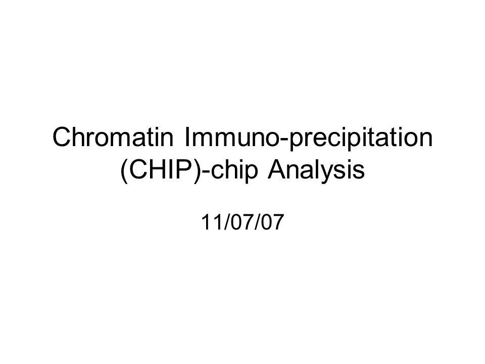 Chromatin Immuno-precipitation (CHIP)-chip Analysis 11/07/07
