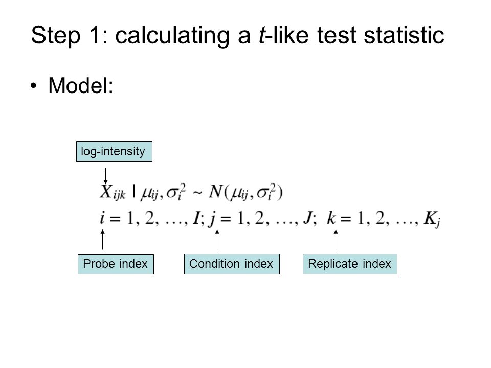 Step 1: calculating a t-like test statistic Model: log-intensity Probe index Condition indexReplicate index
