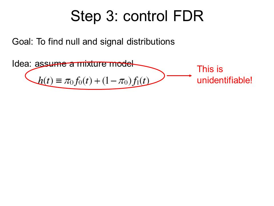 Step 3: control FDR Goal: To find null and signal distributions Idea: assume a mixture model This is unidentifiable!