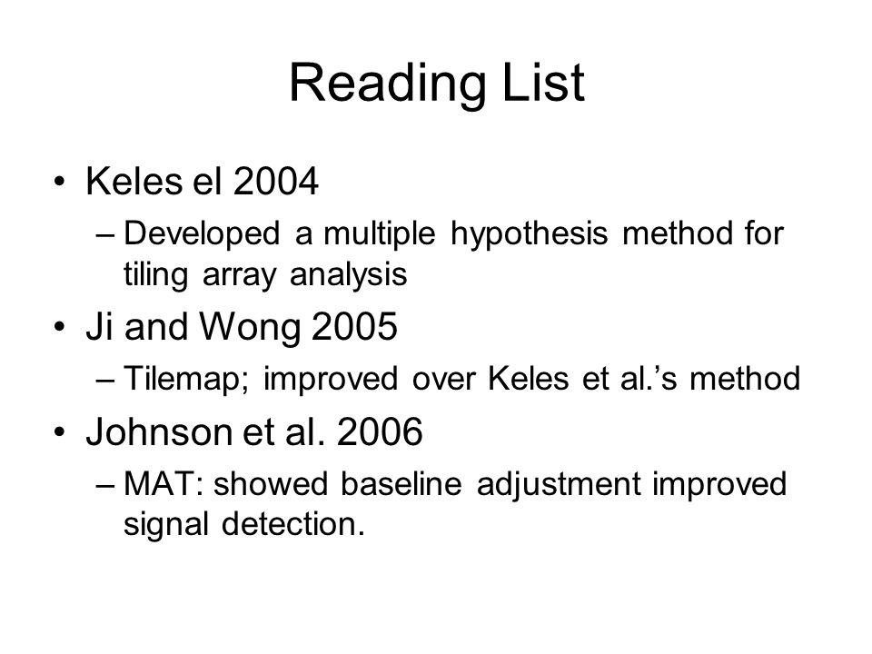 Reading List Keles el 2004 –Developed a multiple hypothesis method for tiling array analysis Ji and Wong 2005 –Tilemap; improved over Keles et al.'s method Johnson et al.