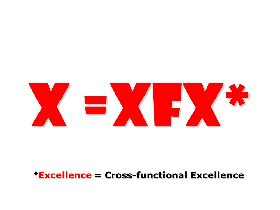 X =XFX* * Excellence = Cross-functional Excellence