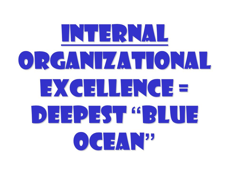 Internal organizational excellence = Deepest Blue Ocean