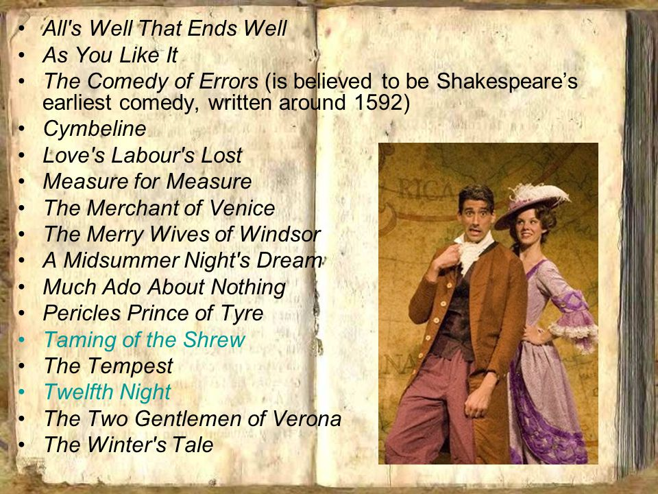 All's Well That Ends Well As You Like It The Comedy of Errors (is believed to be Shakespeare's earliest comedy, written around 1592) Cymbeline Love's