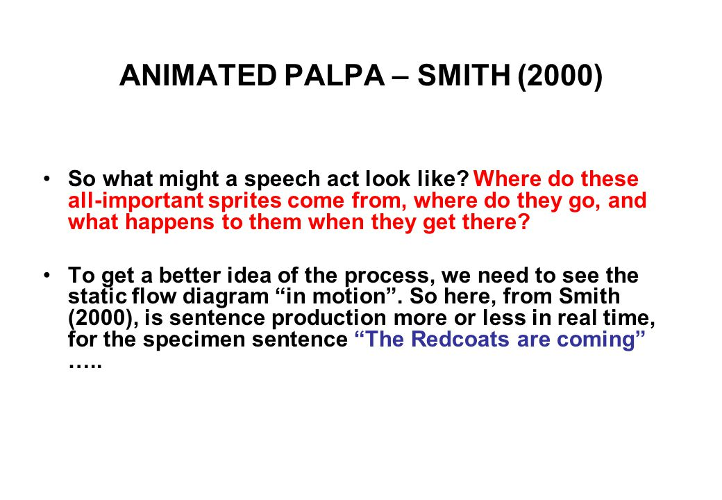 ANIMATED PALPA – SMITH (2000) So what might a speech act look like.