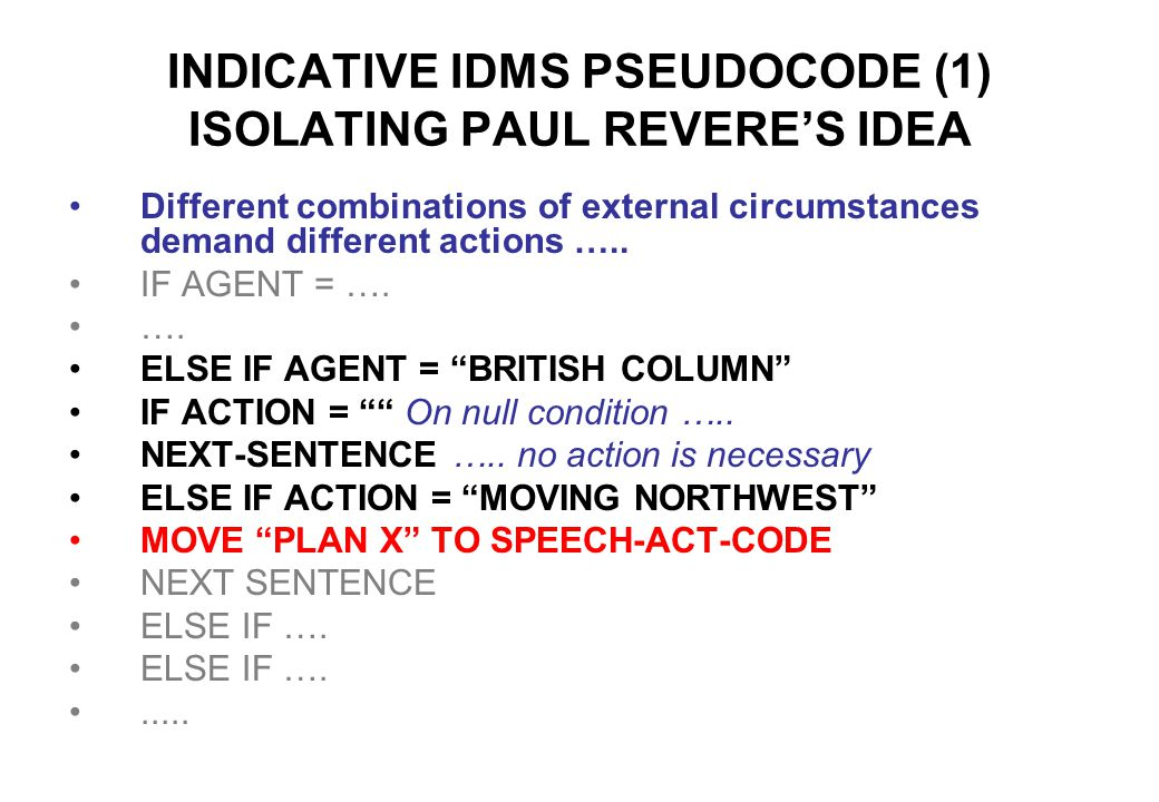 INDICATIVE IDMS PSEUDOCODE (1) ISOLATING PAUL REVERE'S IDEA Different combinations of external circumstances demand different actions …..