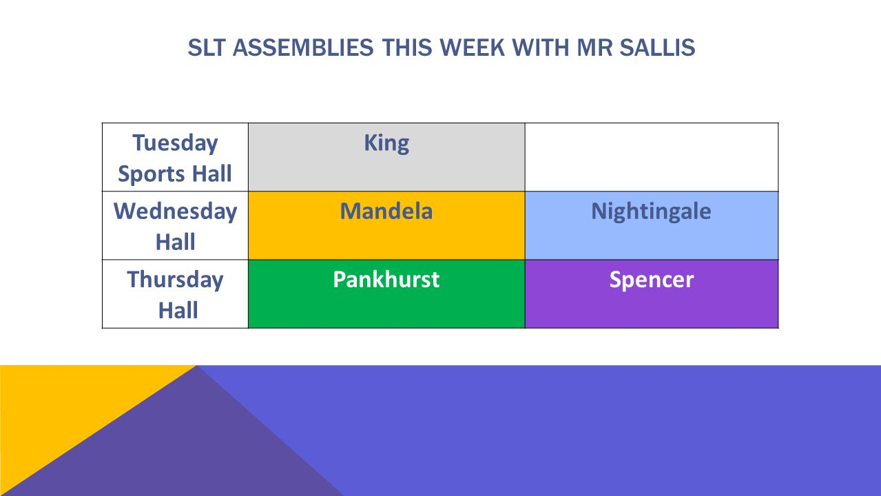Tuesday Sports Hall King Wednesday Hall Mandela Nightingale Thursday Hall Pankhurst Spencer SLT ASSEMBLIES THIS WEEK WITH MR SALLIS
