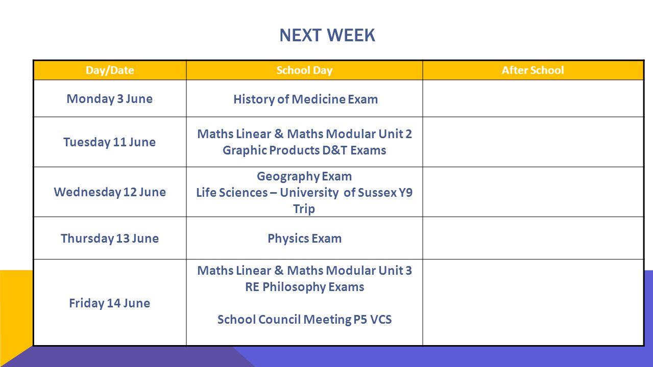 NEXT WEEK Day/DateSchool DayAfter School Monday 3 June History of Medicine Exam Tuesday 11 June Maths Linear & Maths Modular Unit 2 Graphic Products D