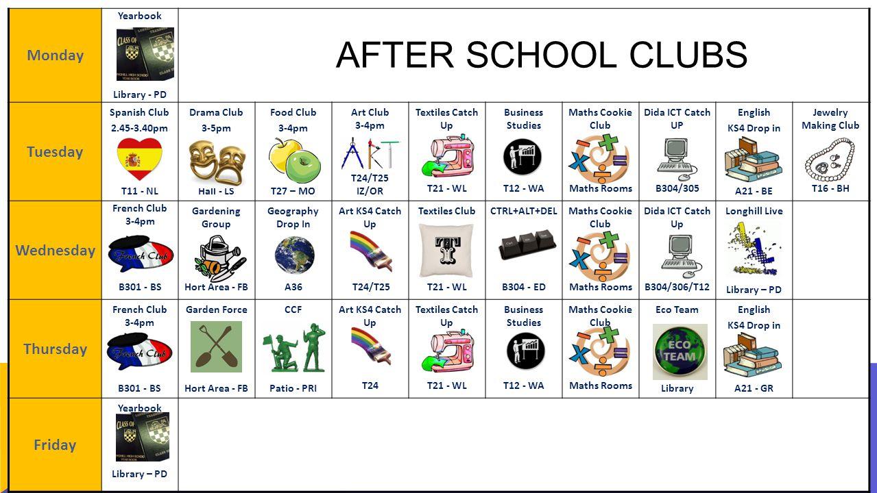 Monday Yearbook Library - PD Tuesday Spanish Club 2.45-3.40pm T11 - NL Drama Club 3-5pm Hall - LS Food Club 3-4pm T27 – MO Art Club 3-4pm T24/T25 IZ/O