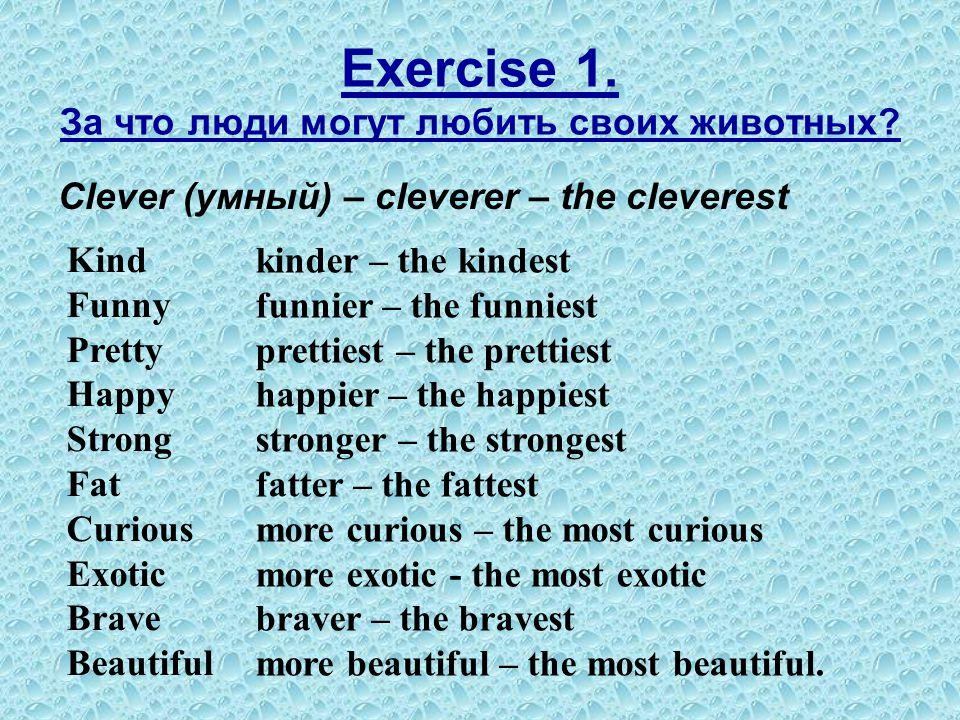 Exercise 1. За что люди могут любить своих животных? Clever (умный) – cleverer – the cleverest Kind Funny Pretty Happy Strong Fat Curious Exotic Brave