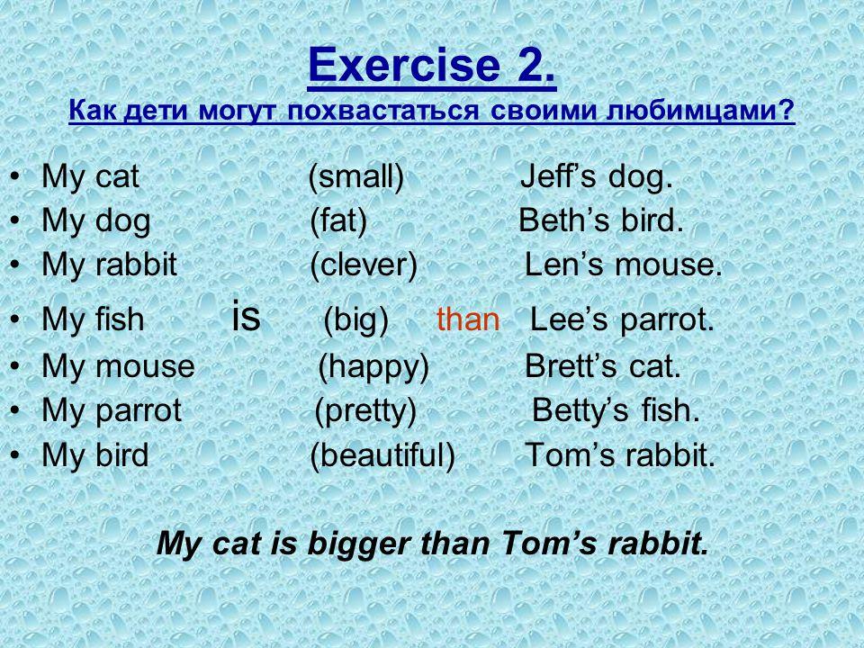 Exercise 2. Как дети могут похвастаться своими любимцами? My cat (small) Jeff's dog. My dog (fat) Beth's bird. My rabbit (clever) Len's mouse. My fish