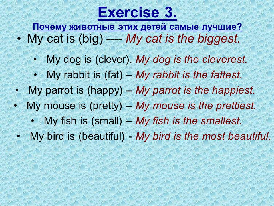 Exercise 3. Почему животные этих детей самые лучшие? My cat is (big) ---- My cat is the biggest. My dog is (clever). My rabbit is (fat) – My parrot is
