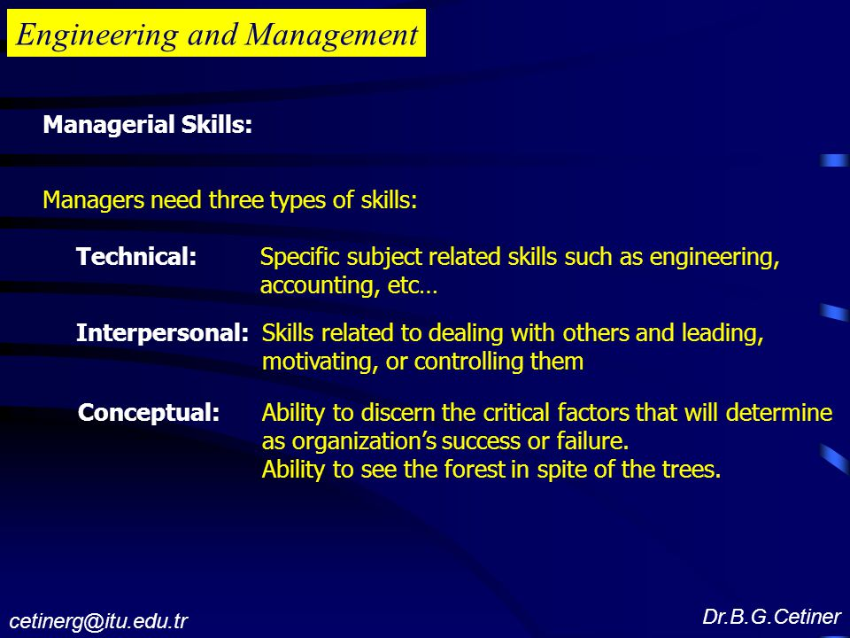 Engineering and Management Managerial Skills: Managers need three types of skills: Technical: Specific subject related skills such as engineering, accounting, etc… Interpersonal: Skills related to dealing with others and leading, motivating, or controlling them Conceptual:Ability to discern the critical factors that will determine as organization's success or failure.