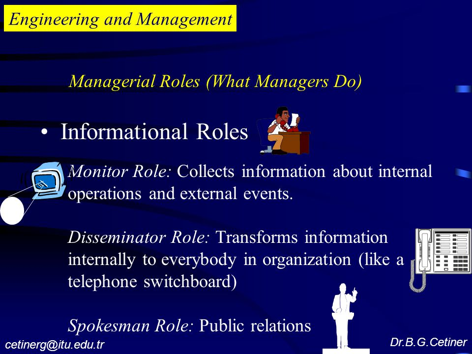 Engineering and Management Informational Roles Monitor Role: Collects information about internal operations and external events.