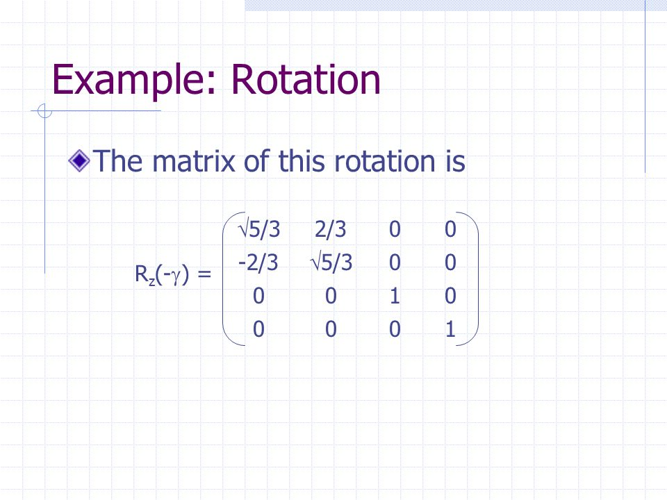 Example: Rotation The matrix of this rotation is  5/3 2/300 -2/3  5/3 00 0010 0001 R z (-  ) =