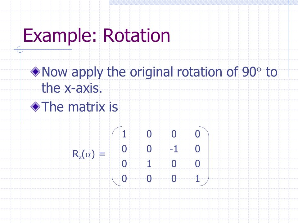 Example: Rotation Now apply the original rotation of 90  to the x-axis.