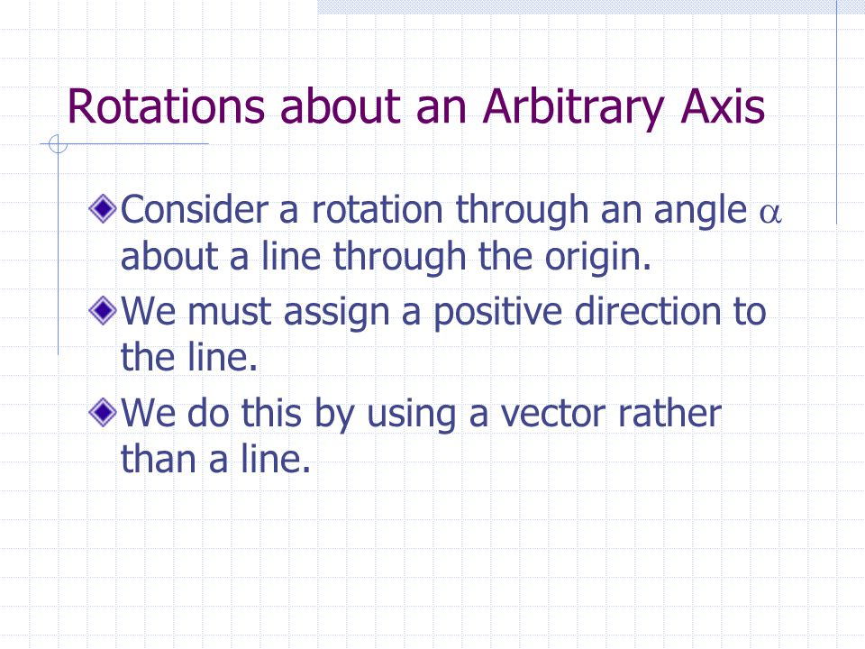 Rotations about an Arbitrary Axis Consider a rotation through an angle  about a line through the origin.