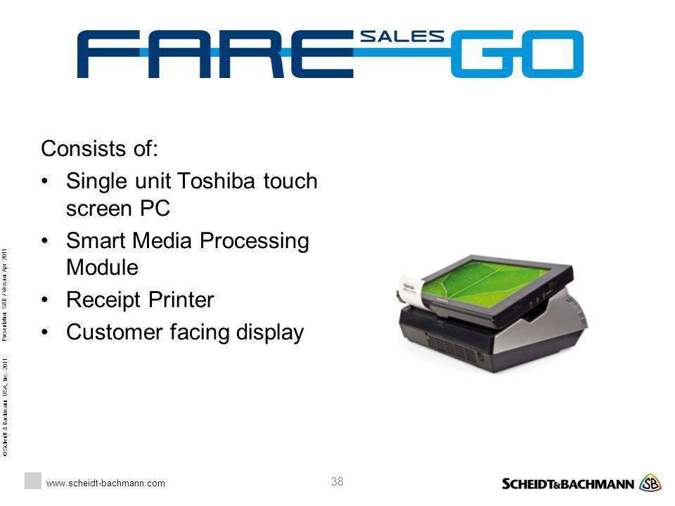 © Scheidt & Bachmann USA, Inc. 2011 www.scheidt-bachmann.com Presentation S&B / Version Apr 2011 38 Consists of: Single unit Toshiba touch screen PC S
