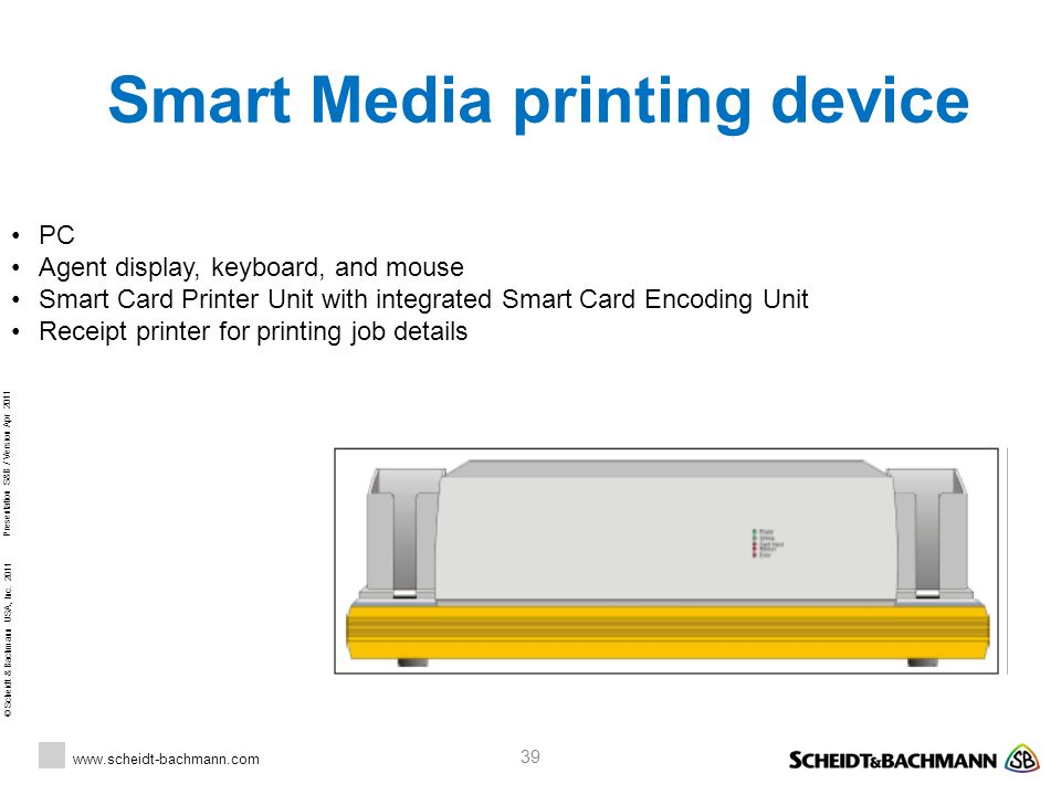 © Scheidt & Bachmann USA, Inc. 2011 www.scheidt-bachmann.com Presentation S&B / Version Apr 2011 39 Smart Media printing device PC Agent display, keyb