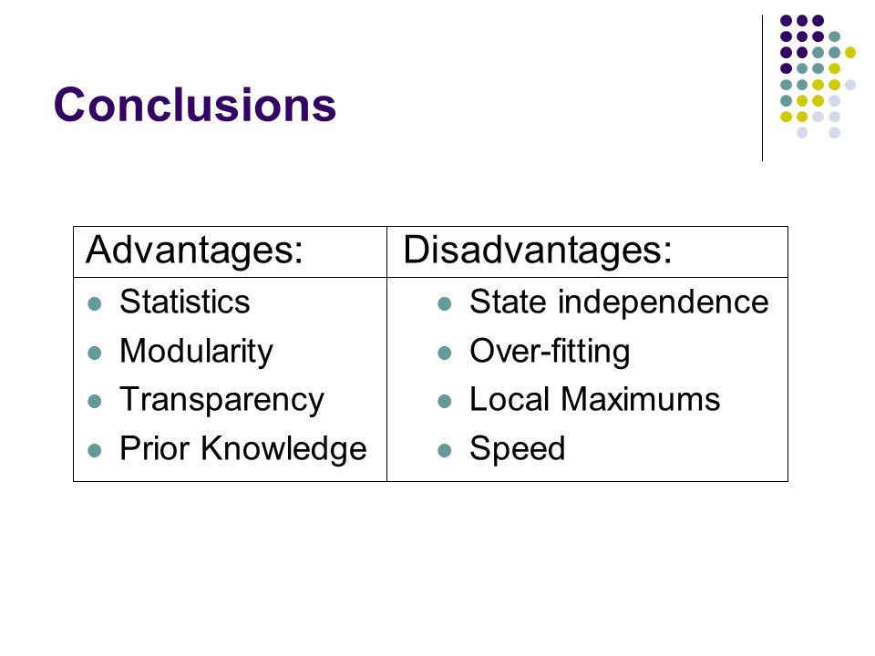 Conclusions Advantages: Statistics Modularity Transparency Prior Knowledge Disadvantages: State independence Over-fitting Local Maximums Speed