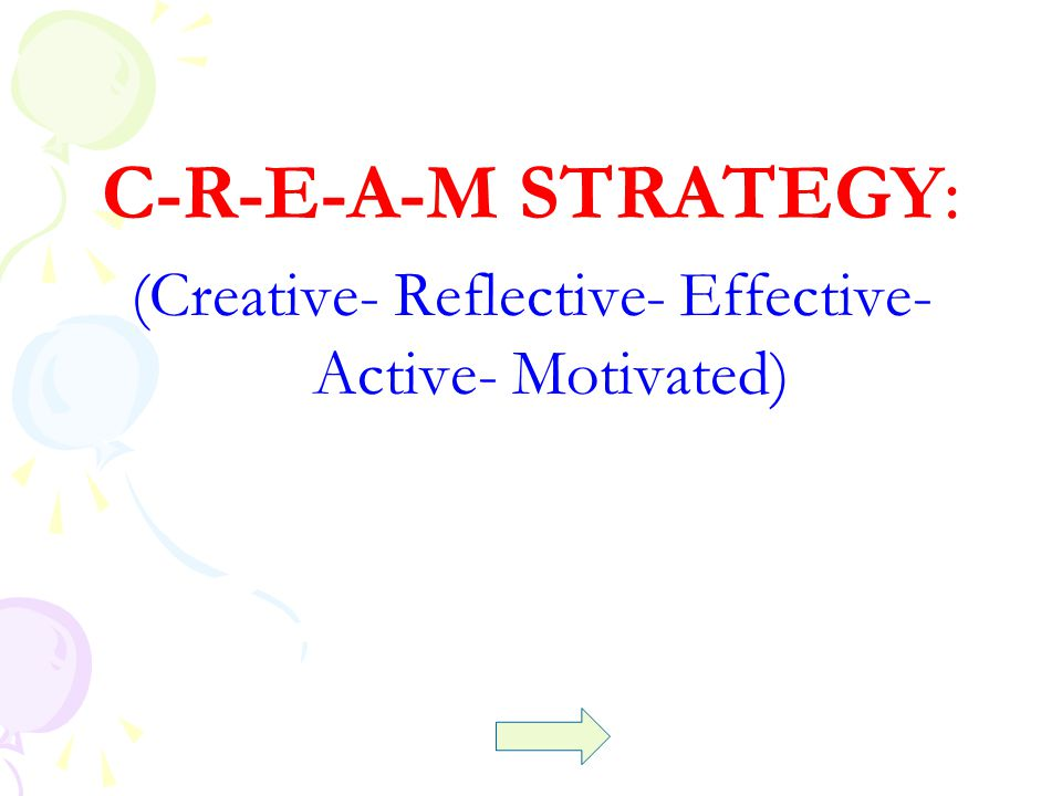 C-R-E-A-M STRATEGY: (Creative- Reflective- Effective- Active- Motivated)