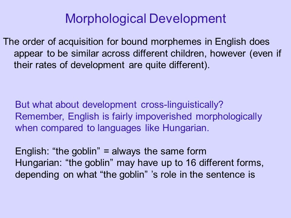 Morphological Development The order of acquisition for bound morphemes in English does appear to be similar across different children, however (even i