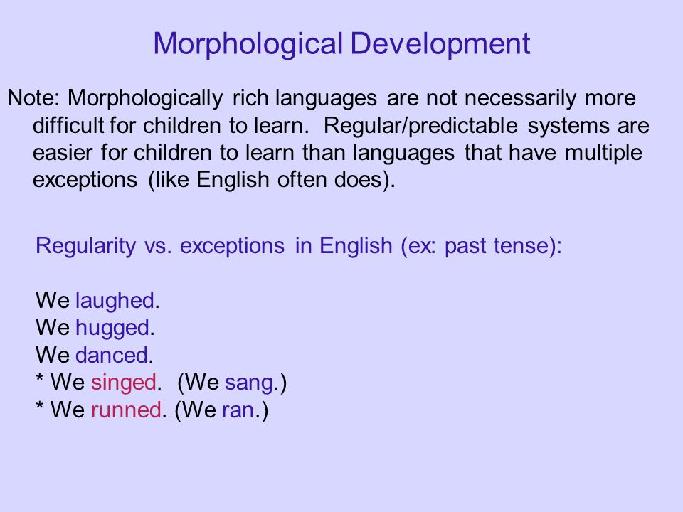 Morphological Development Note: Morphologically rich languages are not necessarily more difficult for children to learn.