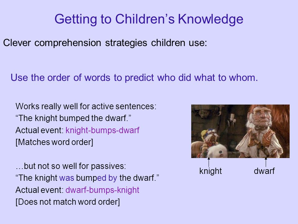 Getting to Children's Knowledge Clever comprehension strategies children use: Use the order of words to predict who did what to whom.