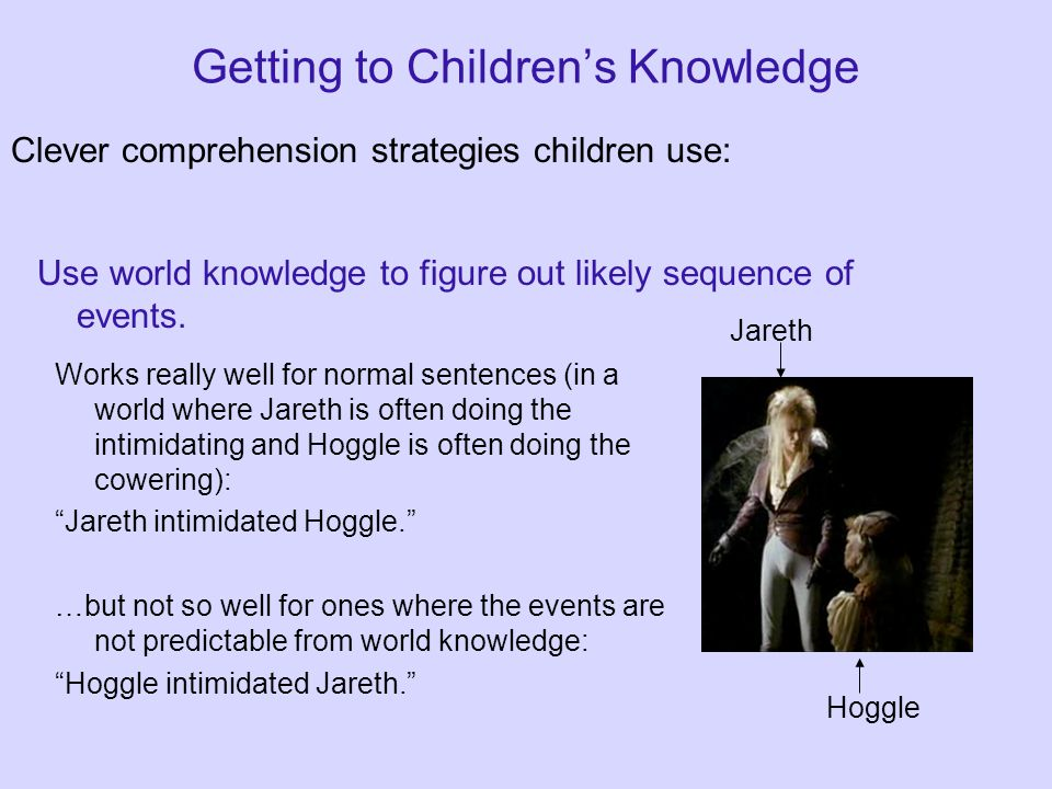 Getting to Children's Knowledge Clever comprehension strategies children use: Use world knowledge to figure out likely sequence of events.