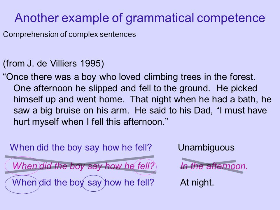 Another example of grammatical competence Comprehension of complex sentences (from J.