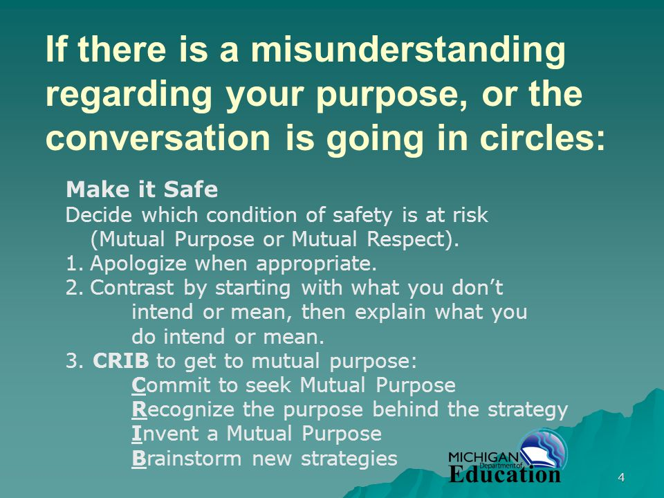 4 If there is a misunderstanding regarding your purpose, or the conversation is going in circles: Make it Safe Decide which condition of safety is at risk (Mutual Purpose or Mutual Respect).