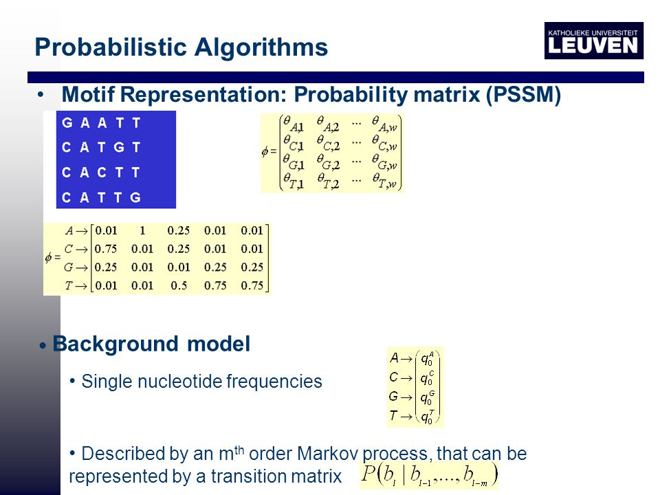 Motif Representation: Probability matrix (PSSM) Background model Single nucleotide frequencies Described by an m th order Markov process, that can be represented by a transition matrix Probabilistic Algorithms