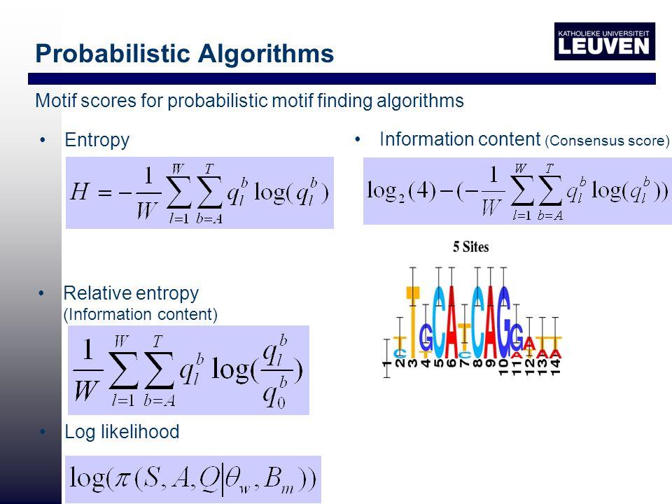 Information content (Consensus score) Log likelihood Relative entropy (Information content) Entropy Probabilistic Algorithms Motif scores for probabilistic motif finding algorithms