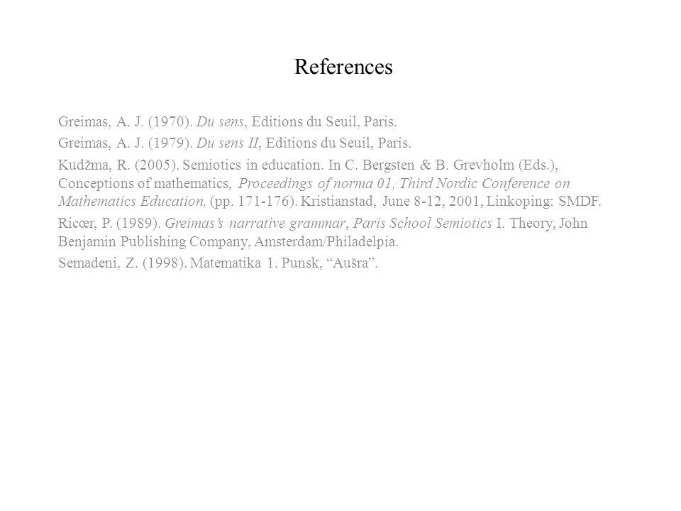 References Greimas, A. J. (1970). Du sens, Editions du Seuil, Paris. Greimas, A. J. (1979). Du sens II, Editions du Seuil, Paris. Kudžma, R. (2005). S
