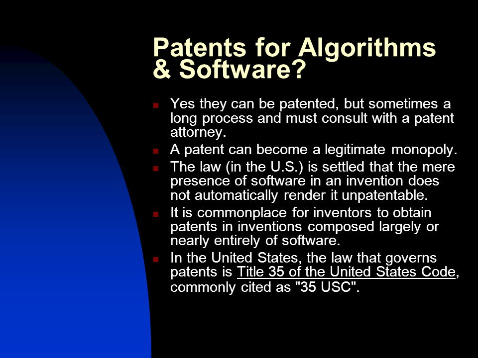 Patents for Algorithms & Software.