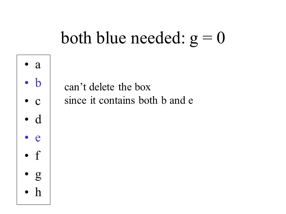 both blue needed: g = 0 a b c d e f g h can't delete the box since it contains both b and e