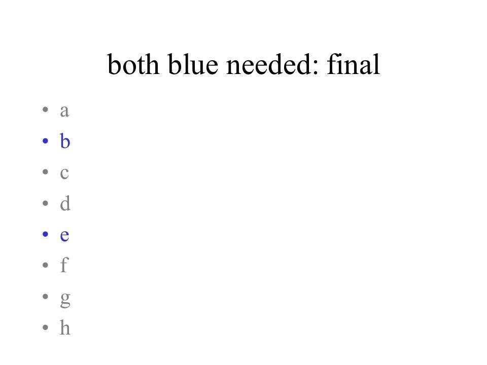both blue needed: final a b c d e f g h
