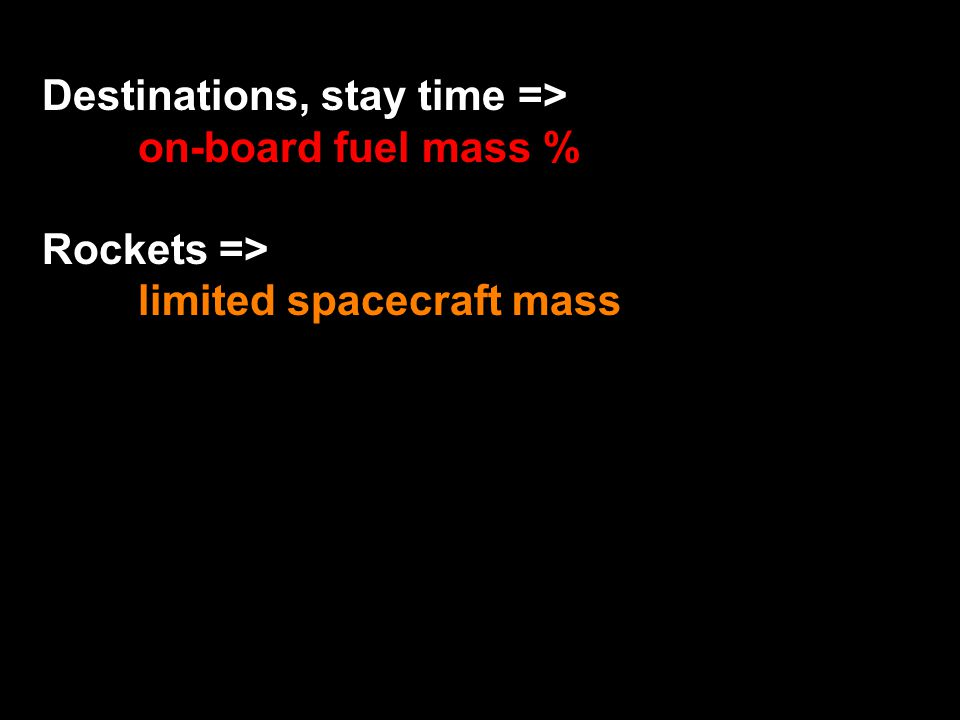 Destinations, stay time => on-board fuel mass % Rockets => limited spacecraft mass
