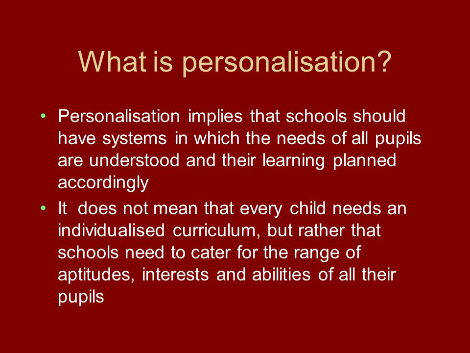 What is personalisation.
