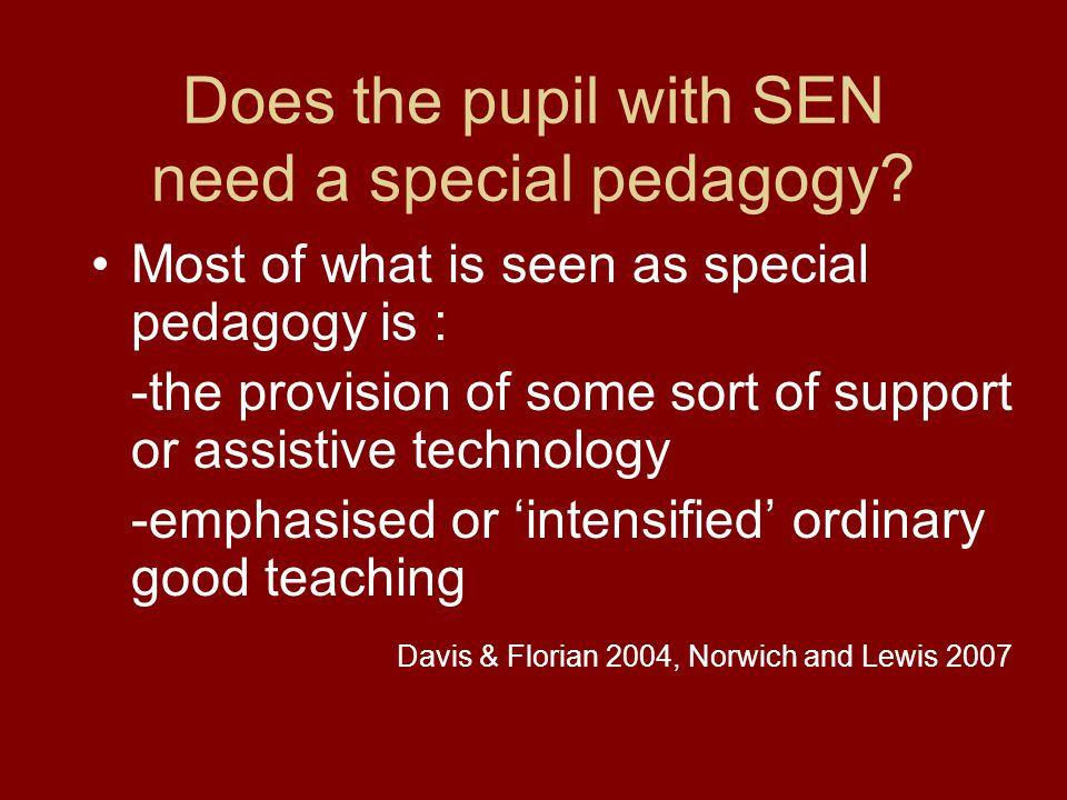 Does the special needs pupil need a special pedagogy.